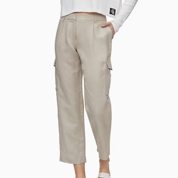 Calvin Klein Pants - CALVIN KLEIN Tan crop cargo pants
